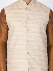 Men's Cotton Art Silk Solid Kurta Modi Jacket and Pyjama Set in Brown