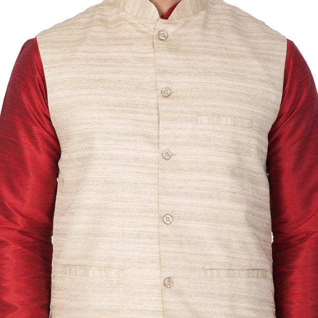 Men's Cotton Art Silk Solid Kurta Modi Jacket and Pyjama Set in Maroon
