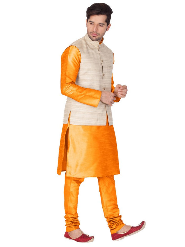 Men's Cotton Art Silk Solid Kurta Modi Jacket and Pyjama Set in Orange