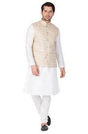 Men's Cotton Art Silk Solid Kurta Modi Jacket and Pyjama Set in White