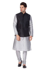 Vastramay Men's Cotton Art Silk Solid Kurta Modi Jacket and Pyjama Set in Grey