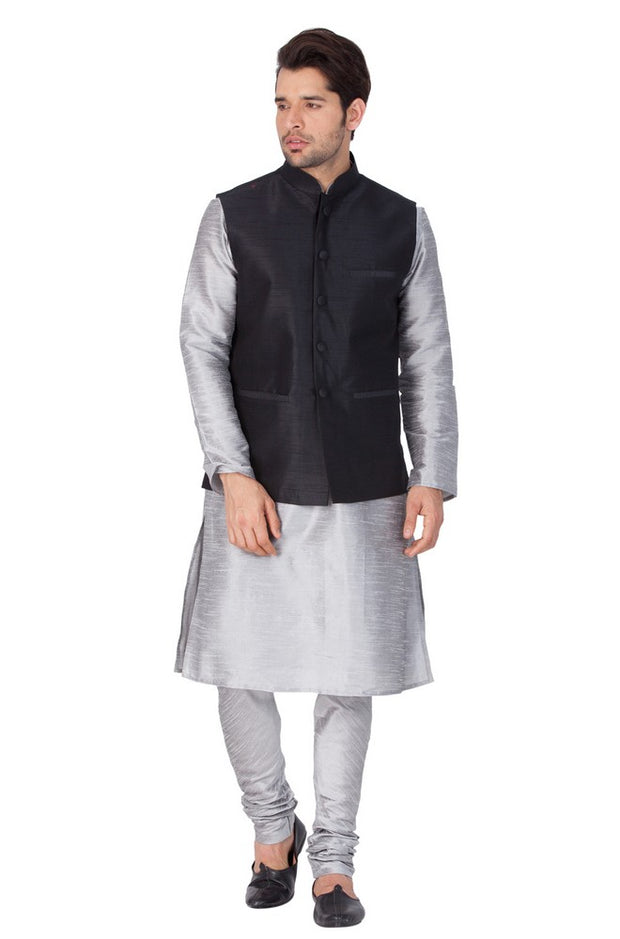 Men's Cotton Art Silk Solid Kurta Modi Jacket and Pyjama Set in Grey