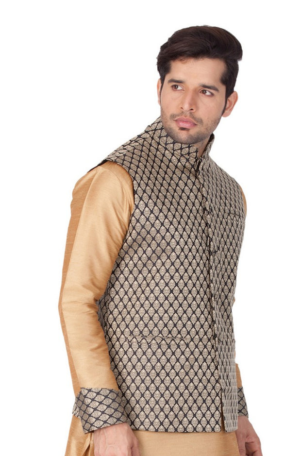 Men's Art Silk Blend Woven Modi Nehru Jacket in Black