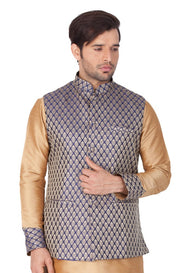 Men's Art Silk Blend Woven Modi Nehru Jacket in Blue