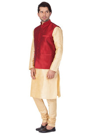 Men's Cotton Art Silk Solid Kurta Modi Jacket and Pyjama Set in Gold