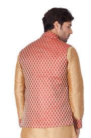 Men's Art Silk Blend Woven Modi Nehru Jacket in Maroon