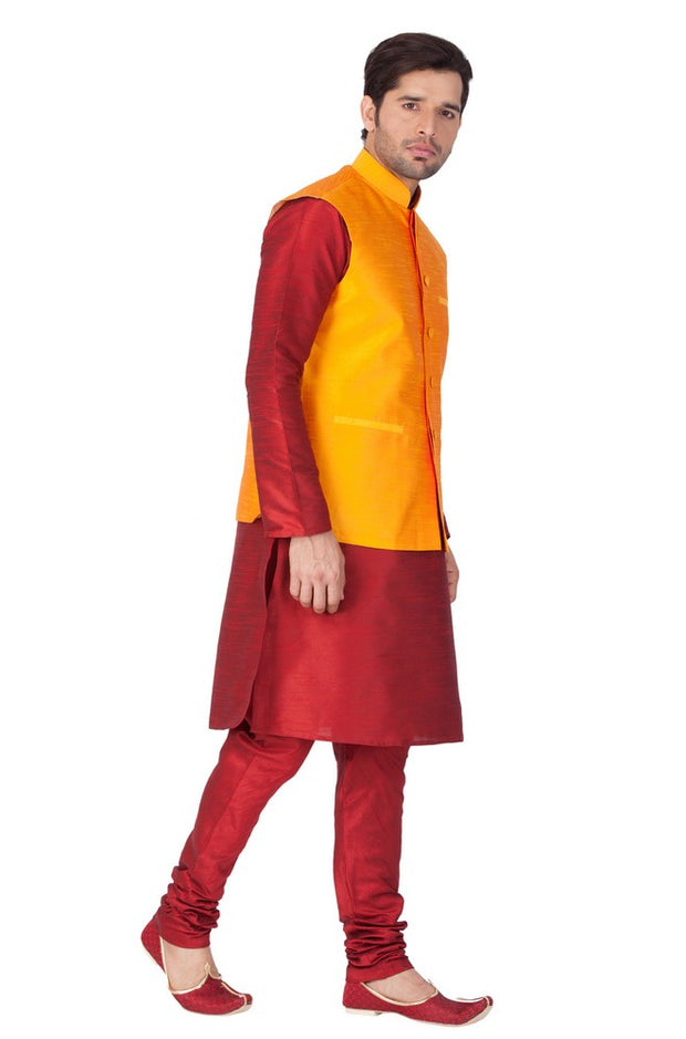 Vastramay Men's Cotton Art Silk Solid Kurta Modi Jacket and Pyjama Set in Maroon