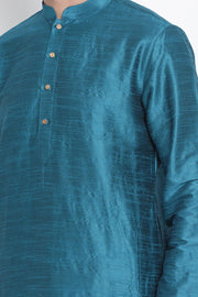 Men's Cotton Art Silk Kurta in Blue