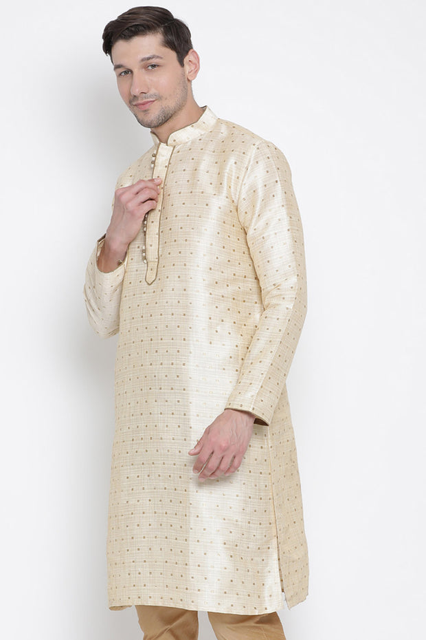 Men's Cotton Art Silk Kurta in Gold