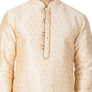 Men's Cotton Art Silk Woven Kurta and Pyjama Set in Gold