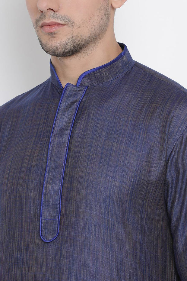 Men's Cotton Kurta Pyjama Set in Royal Blue