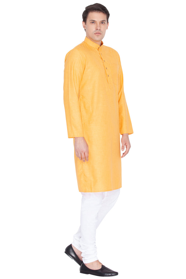 Men's Linen Kurta Set in Orange