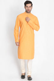 Men's Blended Cotton Kurta Set in Orange