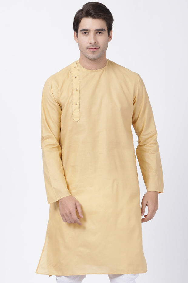 Men's Blended Cotton Kurta in Beige
