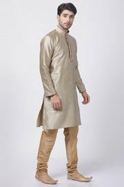 Men's Cotton Art Silk Kurta Set in Beige