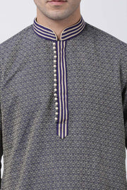Men's Cotton Art Silk Kurta in Grey
