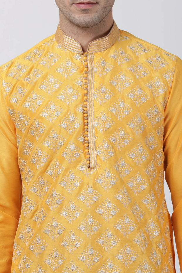 Men's Cotton Art Silk Kurta Set in Yellow