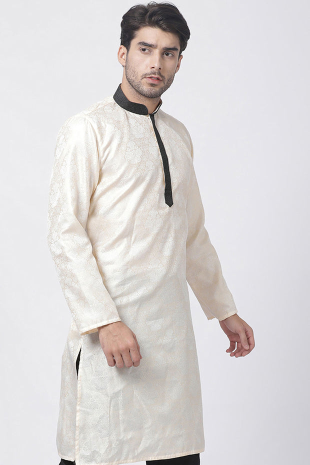 Cotton Art Silk Kurta in Gold