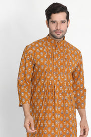 Men's Blended Cotton Kurta in Orange