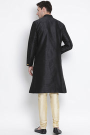 Men's Cotton Art Silk Kurta Set in Black
