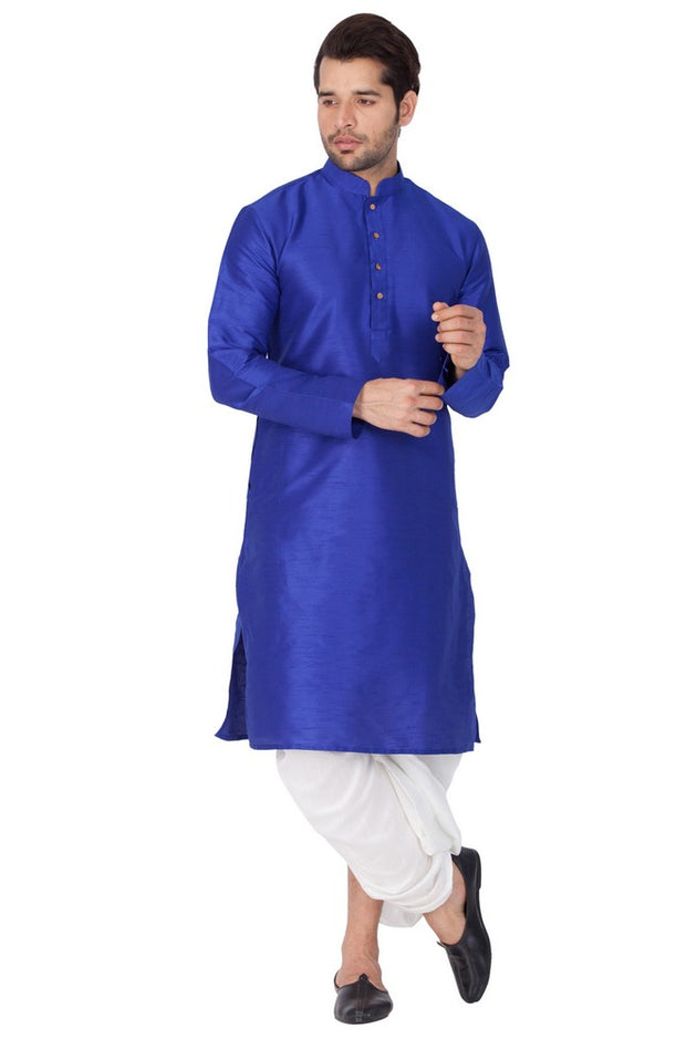 Men's Cotton Art Silk Solid Kurta and Dhoti Pant Set in Blue