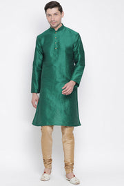 Men's Cotton Silk Kurta Pyjama Set in Bottle Green