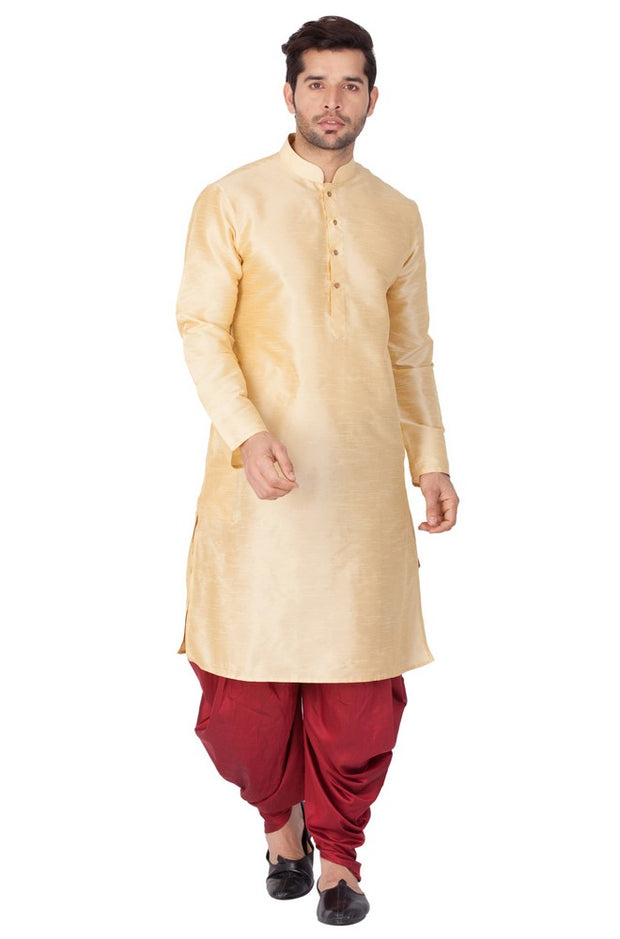 Men's Cotton Art Silk Solid Kurta and Cowl Dhoti Pant Set in Gold