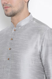 Men's Cotton Art Silk Kurta Set in Grey