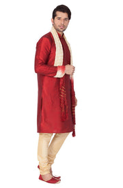 Men's Cotton Art Silk Solid Kurta Pyjama and Dupatta Set in Maroon
