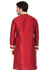 Men's Cotton Art Silk Kurta in Maroon