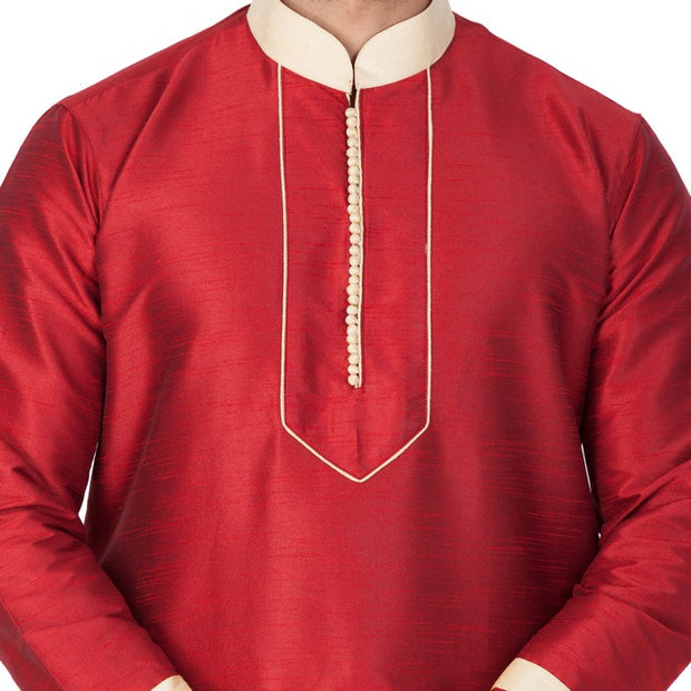 Men's Cotton Art Silk Embroidered Kurta and Pyjama Set in Maroon