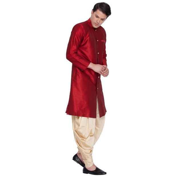 Men's Art Silk Blend Solid Sherwani Style Kurta Set in Maroon