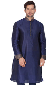 Men's Cotton Art Silk Solid Kurta in Blue