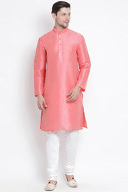 Men's Cotton Art Silk Kurta Set in Pink
