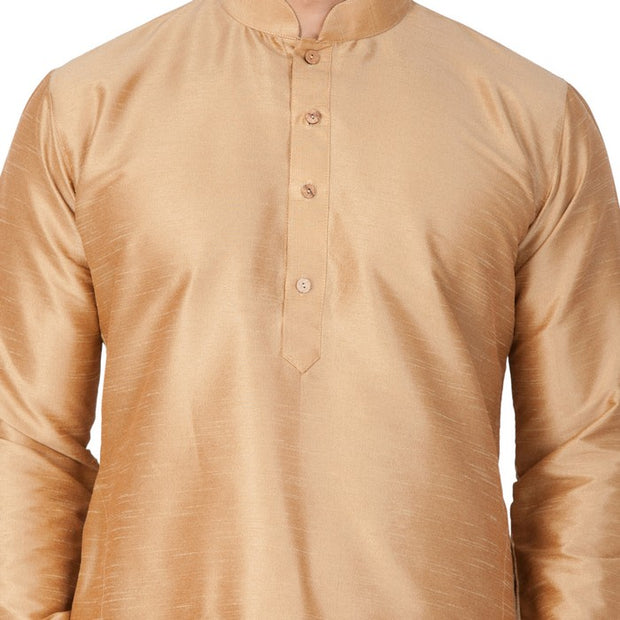 Men's Cotton Art Silk Solid Kurta in Gold