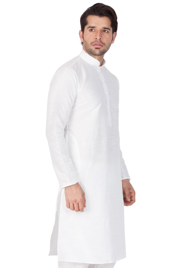 Men's Cotton Art Silk Solid Kurta in White