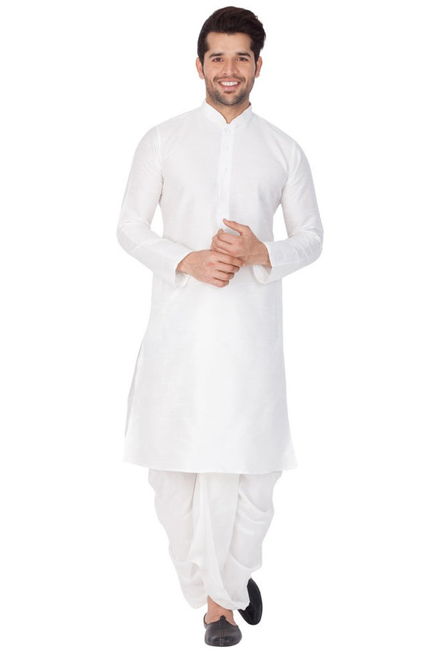 Men's Cotton Art Silk Solid Kurta and Dhoti Pant Set in White