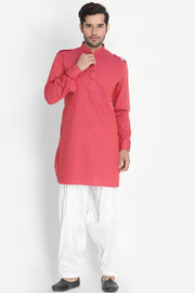 Men's Blended Cotton Kurta in Pink
