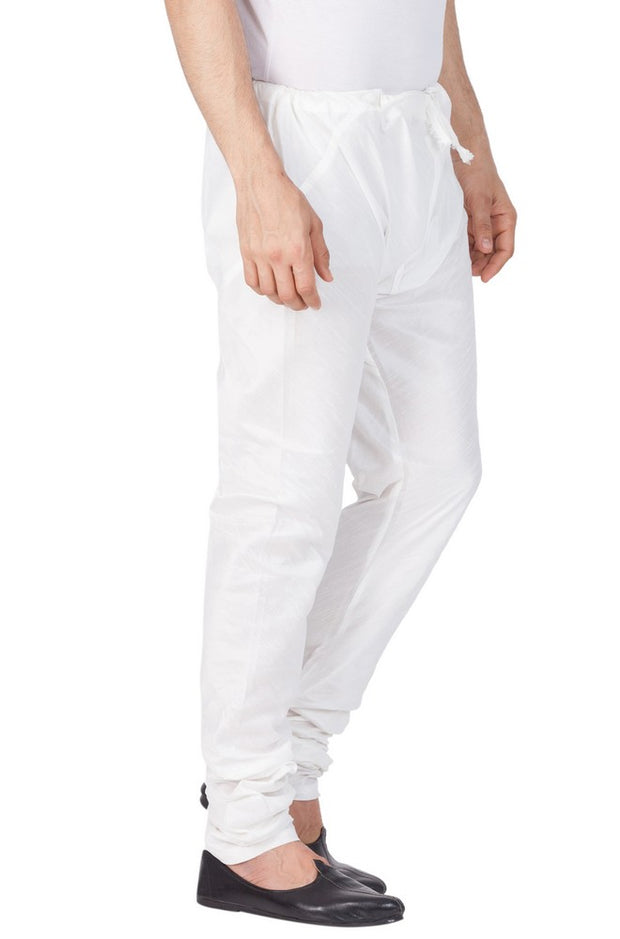 Men's Cotton Art Silk Solid Churidar Pyjama in White