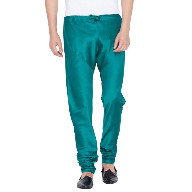 Vastramay Men's Cotton Art Silk Solid Churidar Pyjama in Green