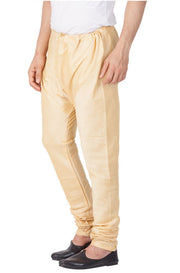 Vastramay Men's Cotton Art Silk Solid Churidar Pyjama in Gold