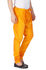Men's Cotton Art Silk Solid Churidar Pyjama in Orange