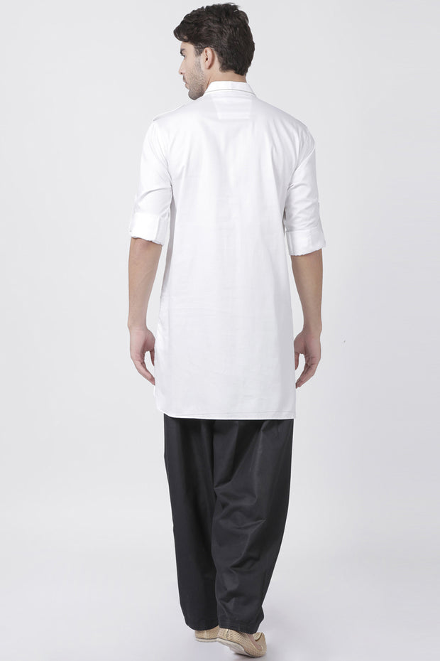 Men's Blended Cotton Pathani Suit Set in White