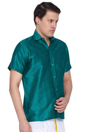 Men's Cotton Art Silk Ethnic Shirt in Green