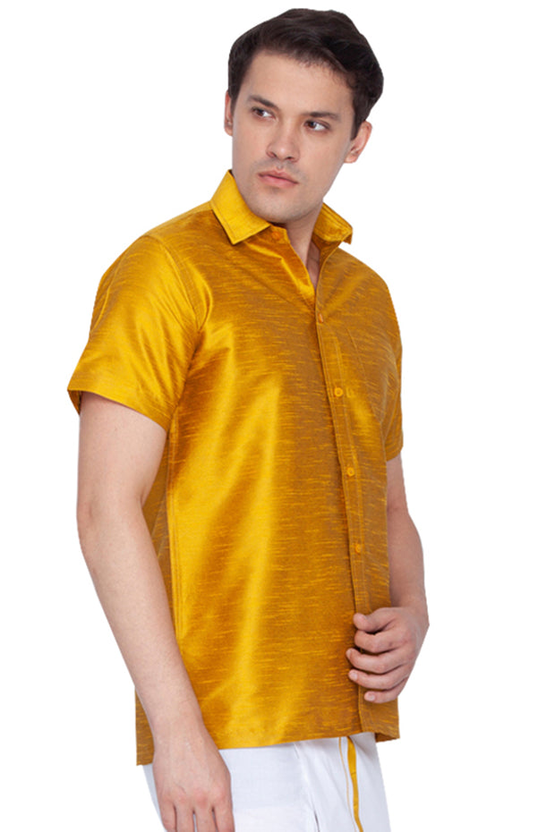 Men's Cotton Art Silk Ethnic Shirt in Yellow