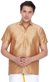 Men's Cotton Art Silk Ethnic Shirt in Gold