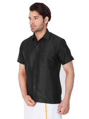 Men's Cotton Art Silk Solid Ethnic Shirt in Black