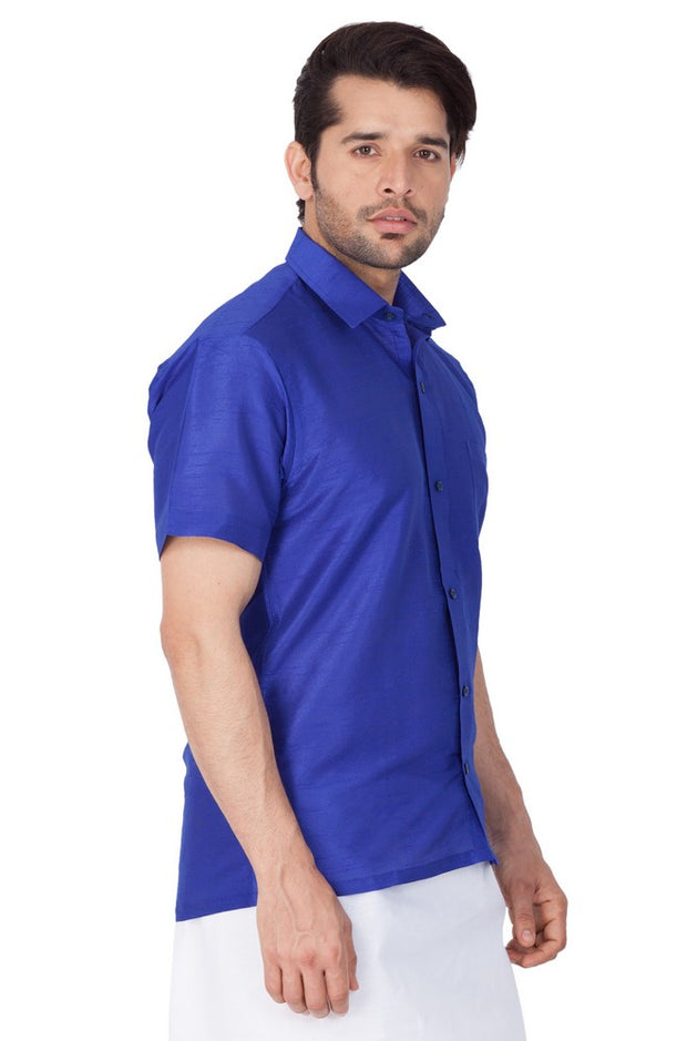 Men's Cotton Art Silk Solid Ethnic Shirt in Blue