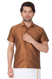Men's Cotton Art Silk Solid Ethnic Shirt in Brown