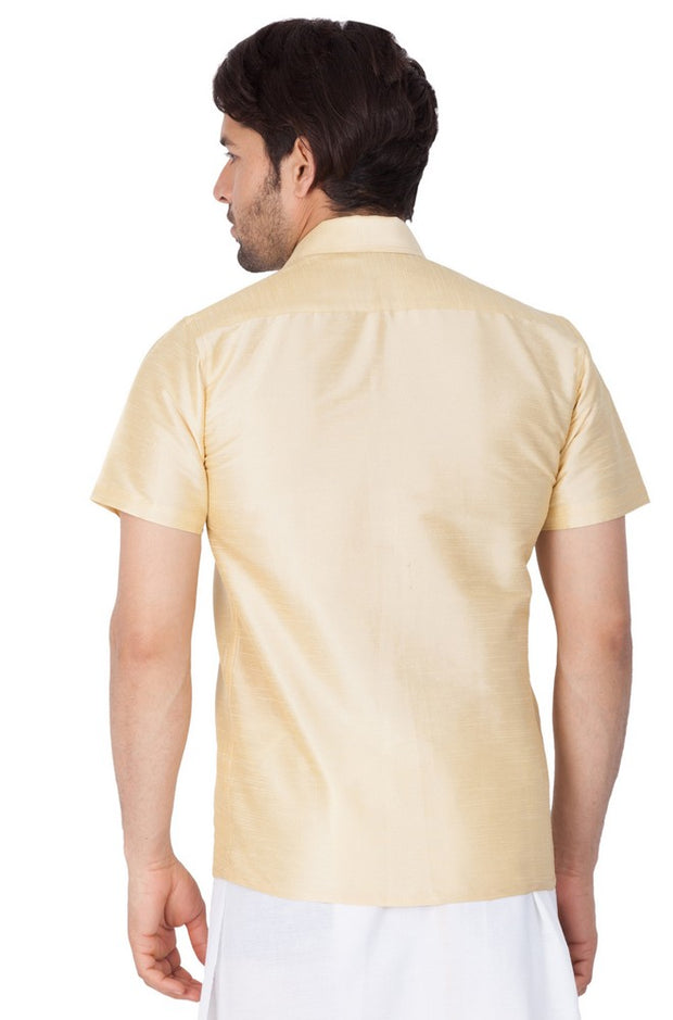 Men's Cotton Art Silk Solid Ethnic Shirt in Gold